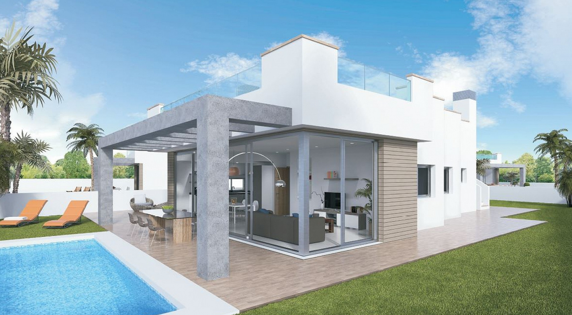 Costa Calida Immobilien in Nähe von Golf Resorts - Heimelige moderne Villa in La Manga del Mar Menor, Costa Calida -