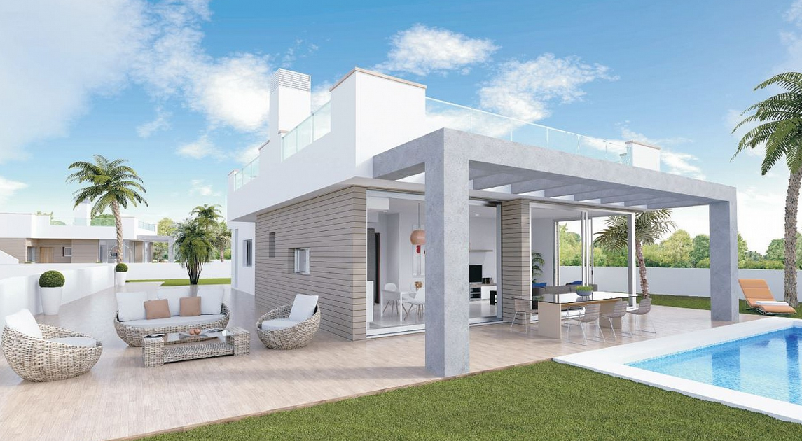 Costa Calida Immobilien in Nähe von Golf Resorts - Heimelige moderne Villa in La Manga del Mar Menor, Costa Calida
